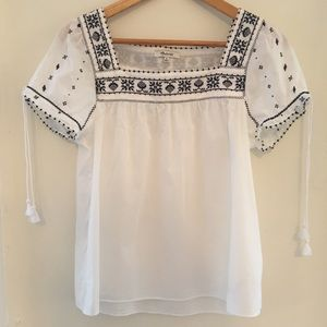 Madewell Embroidered Peasant Top, sz. M